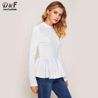Dotfashion Nervuré Tricot À Volants Hem Peplum Femme T-shirt 2017 automne Blanc Ras Du Cou Top À Manches Longues Zip Casual T chemise