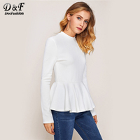 Dotfashion Ribbed Knit Ruffle Hem Peplum Woman Tee Shirt 2017 Autumn White Crew Neck Top Long Sleeve Zip Casual T shirt
