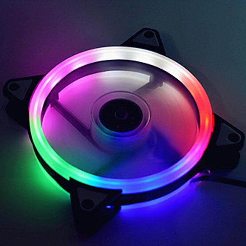 Регулируемый охлаждающий вентилятор для компьютера, вентилятор 120 мм, чехол для ПК, охлаждающий вентилятор, чехол с бликами красного, синего, зеленого, белого цветов, охлаждающий вентилятор для компьютера, RGB - Цвет лезвия: colorful