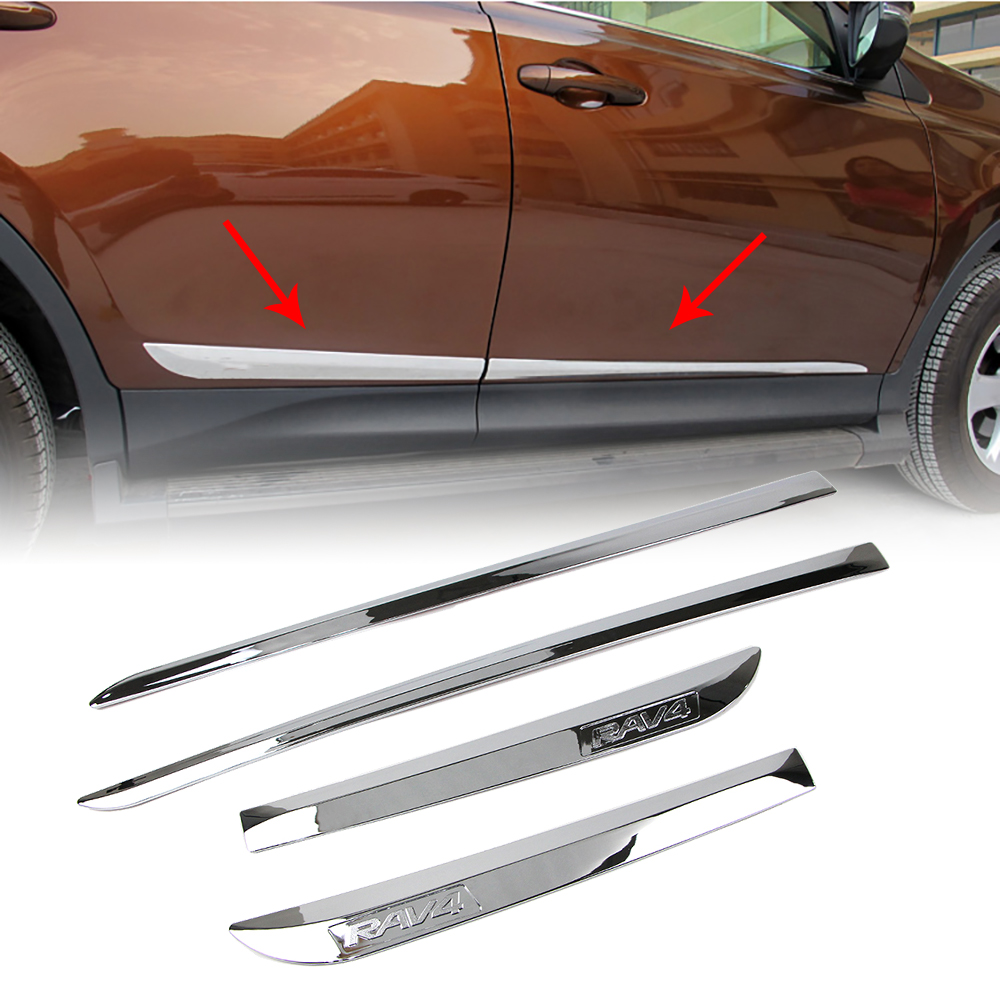 Dreamseek ABS Chrome Door Body Side Line Cover For Toyota RAV4 2013-2018 Exterior Molding Styling Strip Trim Guard