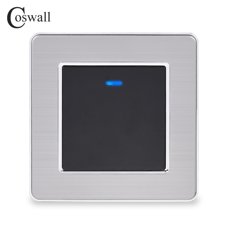 Coswall Stainless Steel Panel 1 Gang 1 Way Light Switch On / Off Wall Switch With LED Indicator 16A Black Gold Color