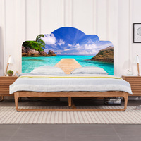 Creative DIY 3D Fake Bedhead Wall Stickers Beach Vacation Pattern For Bed Room Wall Decoration Home