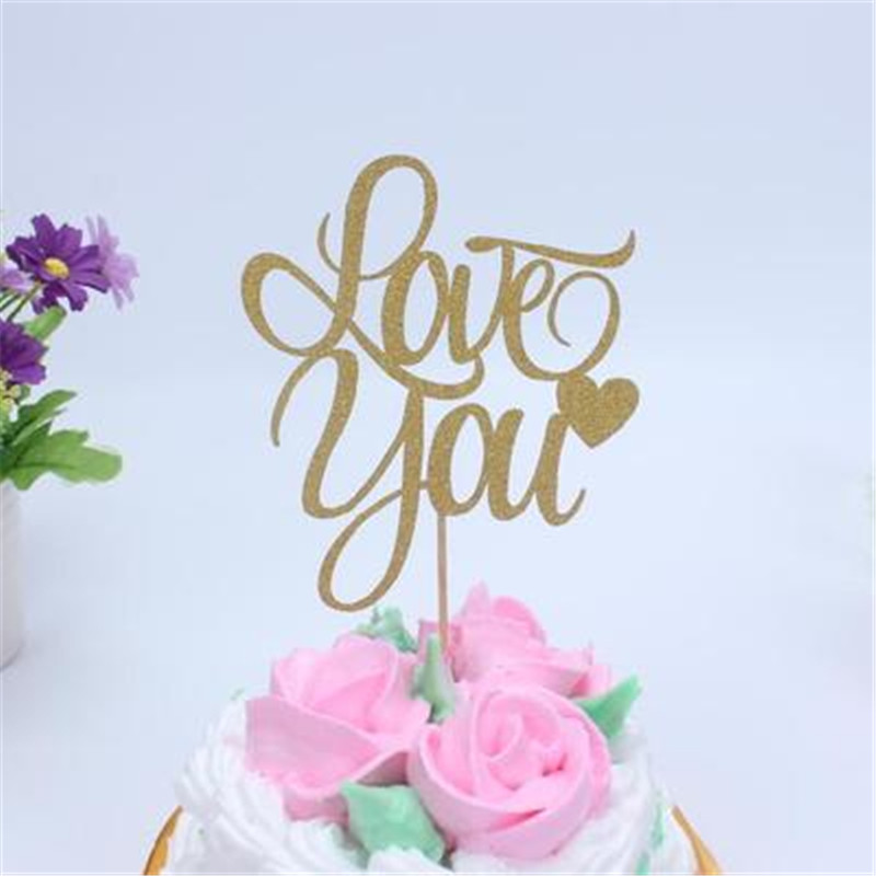 10pcs LOVE YOU Cupcake Cake Topper Glitter Birthday Party Wedding Valentine DIY