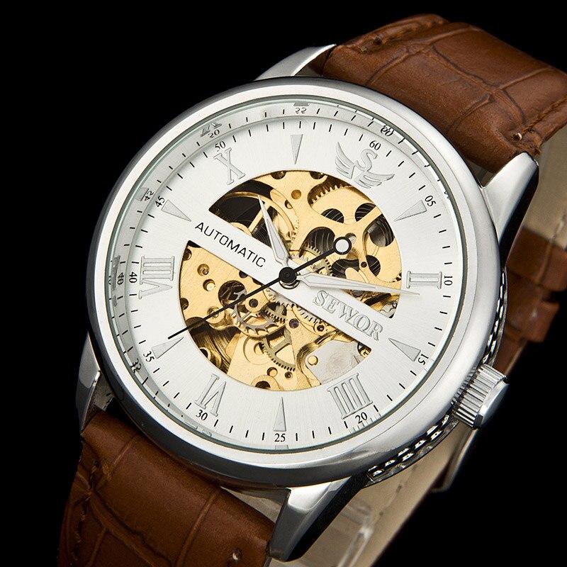 SEWOR Top Luxury Brand New Men's Dress Skeleton Men Sports Mechanical Automatical Wrist Watch Sliver C1138