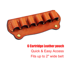 Taktis Berburu Magazine Pouch 6 Cartridge Kulit Berburu Bandolier 12 Gauge Tas Amunisi Shotgun Shell Pemegang Cartridge Belt