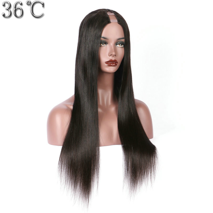 PAFF 150% Density Human Hair U Part Wigs Silky Straight 100% Brazilian Hair Non-remy Hair Wig Middle Part 1*3''Can Be Dyed