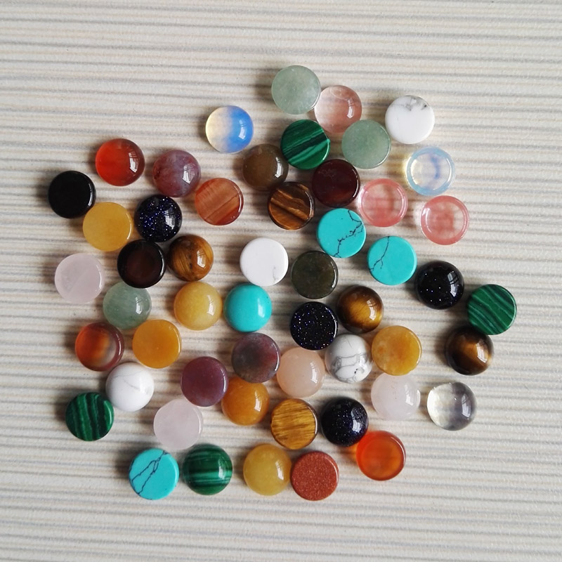 wholesale mixed natural round stone beads round CAB CABOCHON for jewelry Accessories 8x8mm 50pcs/lot free