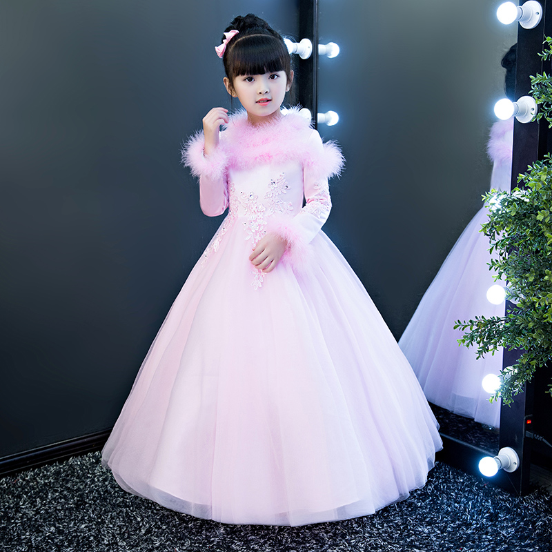 Girls Autumn Winter Thick Warm Pink Princess Lace Long Dress Children Luxury Elegant Birthday Wedding Party Ball Gown Dress uoipae party dress girls 2018 autumn