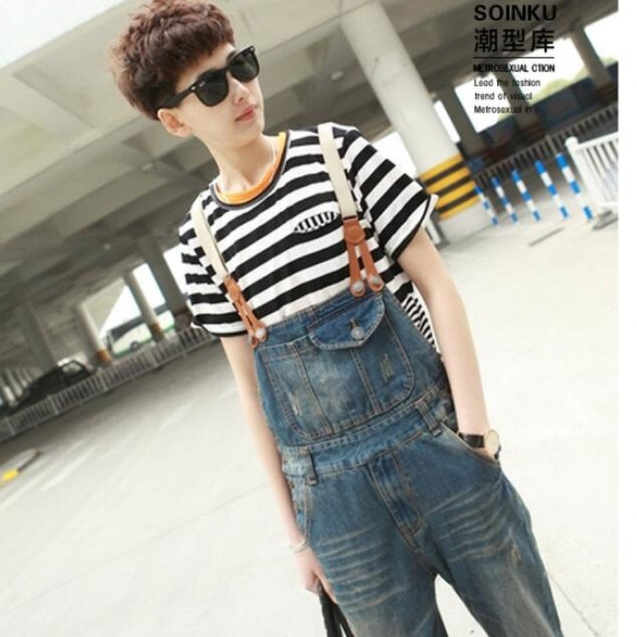 ФОТО New Fashion Mens Overalls Stonewashed Denim Jumpsuit Pants Suspenders Hole   Ripped Jeans Plus Size M-2XL vaqueros Free Shipping
