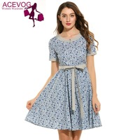 ACEVOG Women Casual Dress 2017 Summer Short Sleeve Floral Print O Neck Vintage Style Swing Dress