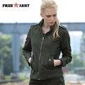 FREE ARMY Green Jackes и Пальто Вскользь Неприкрытая Вышивка Осень Куртку Женщины Военная Тонкий Пальто Куртки GS-8552