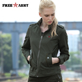 FREE ARMY Green Jackes and Coats Casual Unpadded Embroidery Autumn Bomber Jacket Women Military Slim Coats Jackets GS-8552