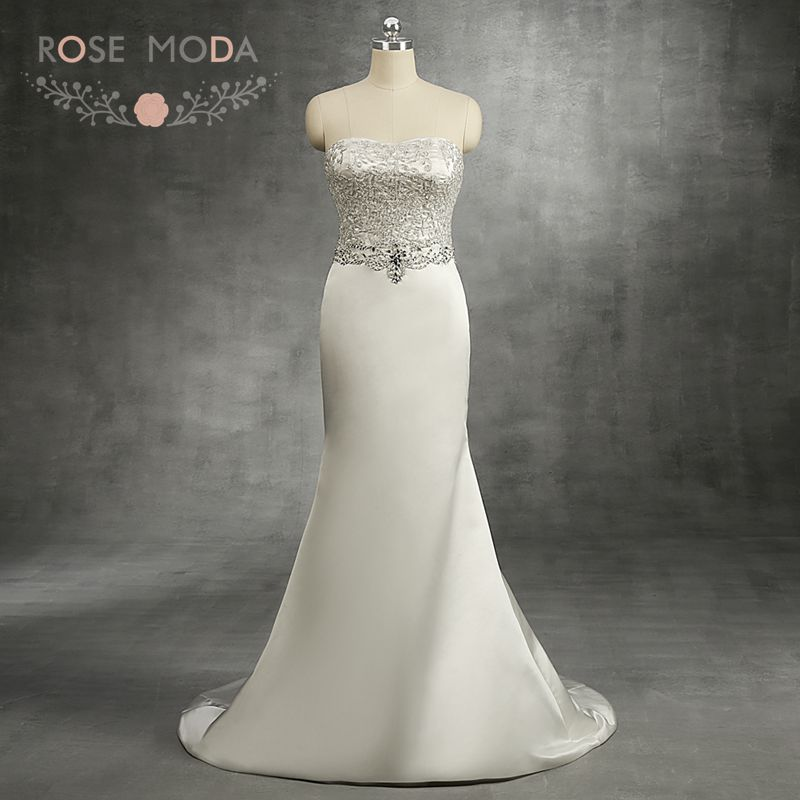 Rose Moda Strapless Satin Mermaid Wedding Dress Crystal Beaded Destination Wedding Dresses 2018