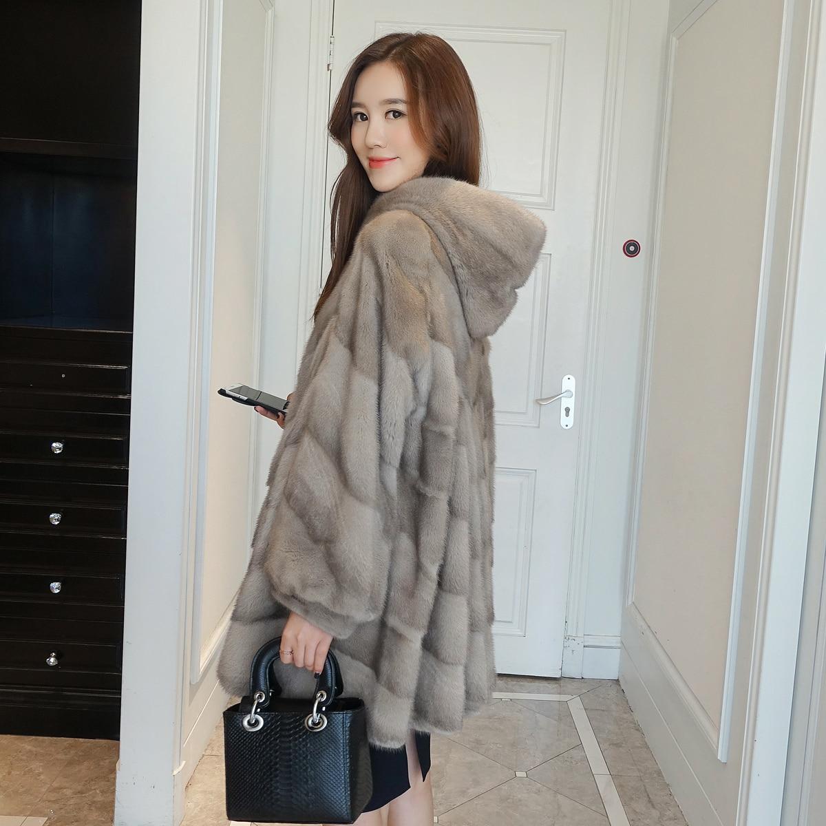 the best attitude 27be5 3264f US $1065.0 |Donne reale del visone cappotto di pelliccia tutta la pelliccia  di visone giacca lunga con cappuccio di velluto qualità di visone femmina  ...