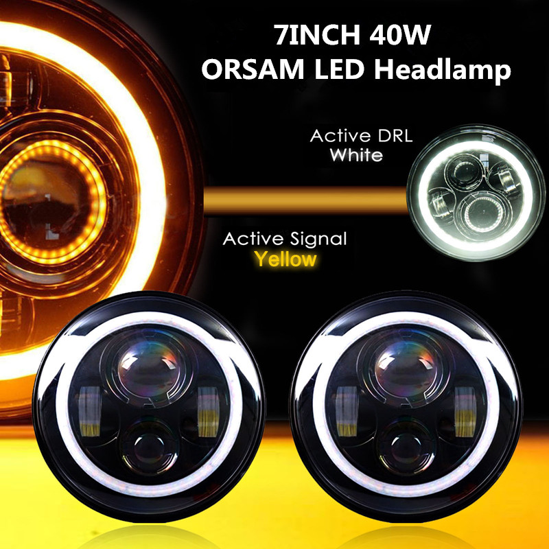 7 led headlight Round 7 Inch Hi/Lo Beam Auto head light with Halo Angel eyes for Car Jeep JK Truck 4x4 Off Road Headlamp 7inch round halo headlights 45w wrangler jk high low beam headlamp 7 angel eyes projector head light for jeep land rover
