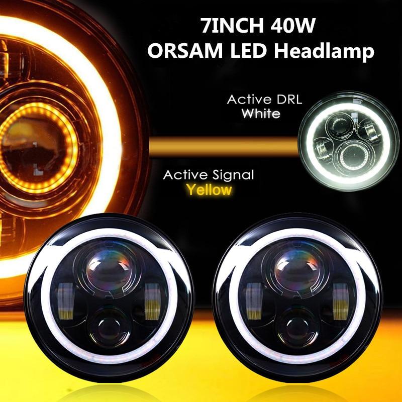 7 phare LED rond 7 pouces salut/Lo faisceau Auto phare avec Halo Angel yeux pour voiture Jeep JK camion 4x4 hors route phare