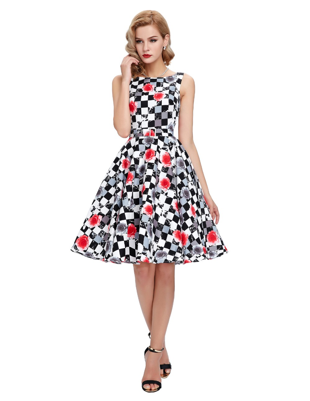 e7f8be2891f4b Belle Poque Women Summer Dress 2017 Rockabilly Audrey Hepburn Tunic robe  Casual Clothing Vestidos 50s Vintage Plaid Dresses -in Dresses from Women's  ...