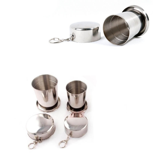 Stainless Steel Folding Cup Travel Survival Gear Outdoor Sports Mug Portable for Camping Hiking Climbing Hunting Fishing