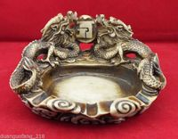 Retro Collection Chinese Old Resin Sculpture Dual Dragon Pearl Ashtray