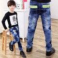 Crianças primavera Carta Moda Jeans Meninos Calças Jeans Lavagem Luz Jeans Meninos para Meninos Cintura Elástica Casuais calças de Brim das Crianças P248