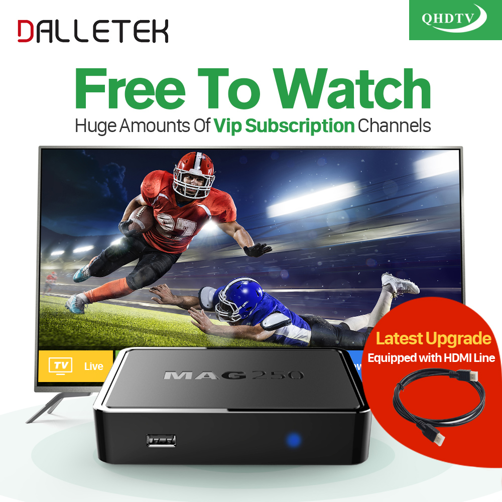 Dalletektv IPTV STB MAG 250 Smart tv Set Top Box Linux QHDTV 1 year IPTV Account subscription IPTV Europe Arabic French