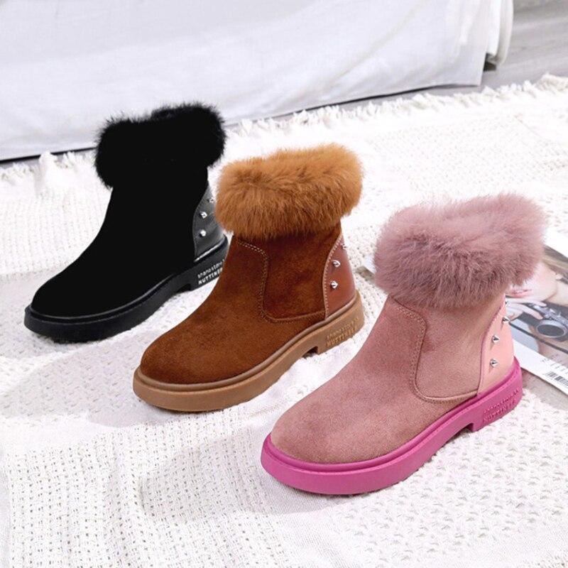 Dames Botines Femmes Cheville De Af486 Pour Mode Black pink Neige Chaude Bottes Talons Hiver Chaussures brown Mujer SqwAzPS