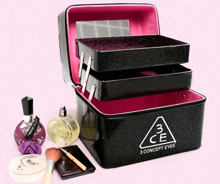 54f914f0b681 US $22.87 30% OFF|2019 Large Capacity Solid Portable 3 Layers Waterproof  3ce Cosmetic Bag Case Professional Make Up Box 8 Colors Available-in  Cosmetic ...