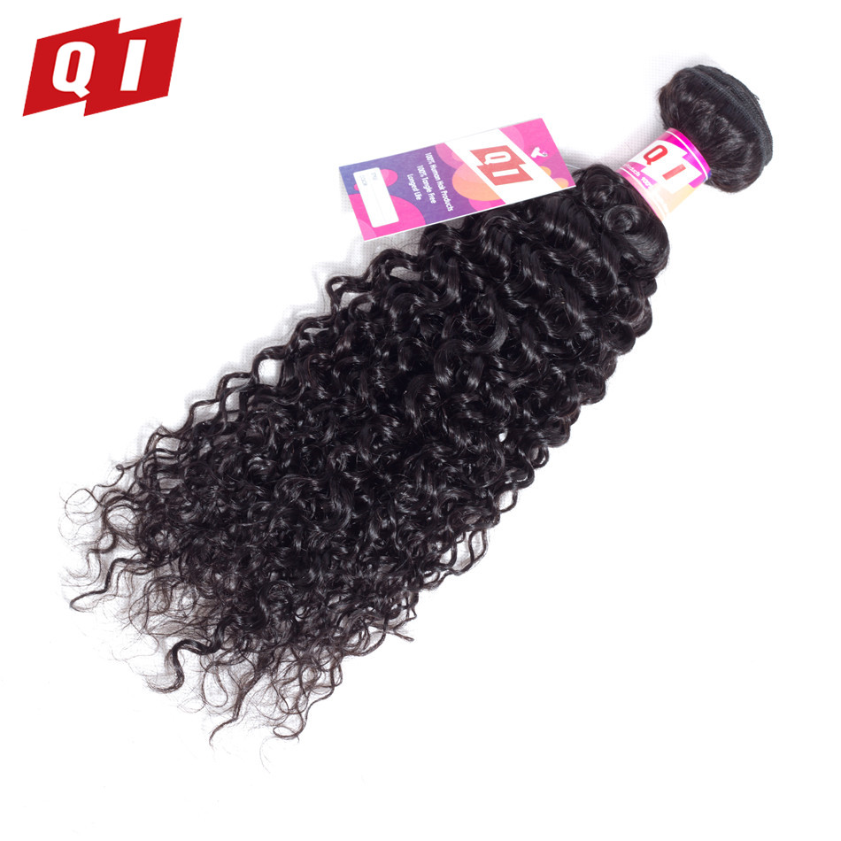 QI Hair Peruvian Kinky Curly Hair Weave 100% Human Hair Extensions Bundles Non Remy Hair 8-26 Inches Natural Color Free Shipping