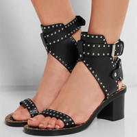 Fashion Design Jaeryn Studded Leather Sandals Rivets Combat Ankle Booties Chunky Brand Open Toe Sexy Summer