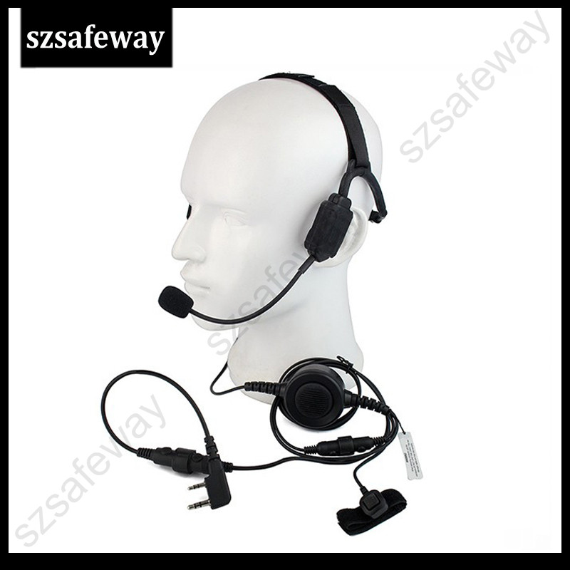 Military Bone Conduction Tactical Headphone Headset with boom mic for Kenwood baofeng UV 5R wouxun two