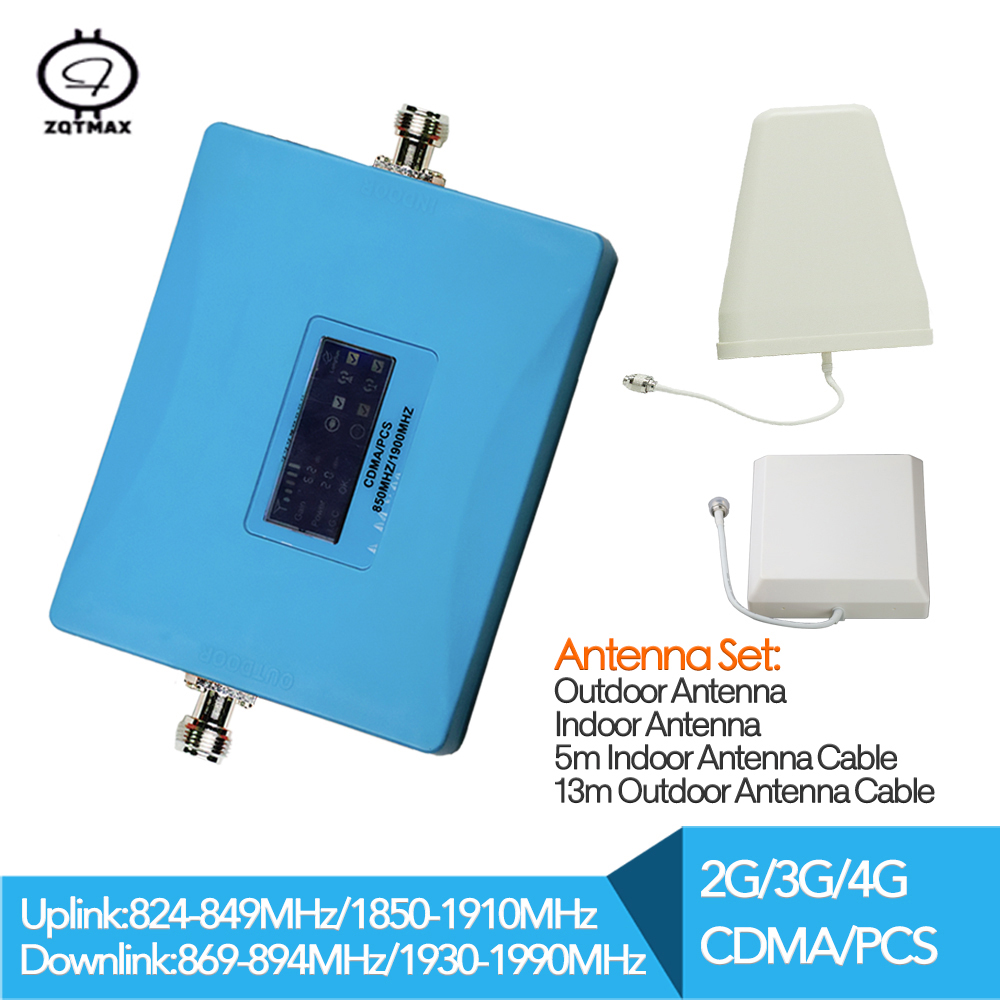 Signal Booster Repeater 2G 3G 4G 850MHz UMTS 1900MHz Repetidor Amplifier Mobile With Full Sets Cdma Antenna For Signal Amplifier