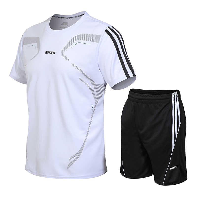 Мужской спортивный костюм из двух предметов, модные мужские комплекты, летний костюм, мужские костюм для фитнеса, быстросохнущие шорты с короткими рукавами и круглым вырезом, однотонная спортивная одежда