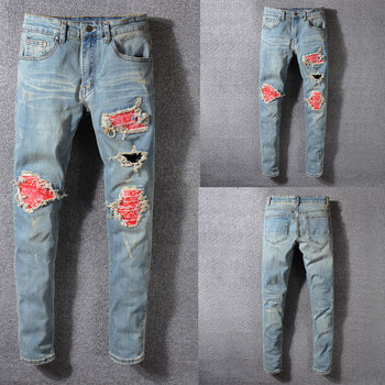 2019 Summer New Men Jeans,High Quality Patchwork Casual Pants Slim Fit Brand Streetwear Stretch Biker Jeans Men,Hole Red Color 2019 new style new men jeans blue color high quality patchwork casual pants slim fit brand streetwear stretch biker jeans men