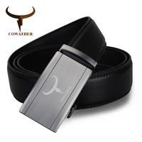 COWATHER 100 Cow Genuine Leather Automatic Belt For Men Top Quality Alloy Buckle New Male Strap