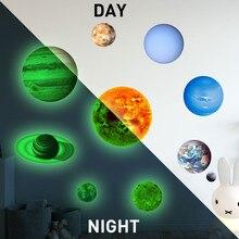 10 Uds., pegatinas de pared DIY de planetas, Sistema Solar luminoso de PVC, pegatinas de pared que brillan en la oscuridad, decoración del hogar para habitación de los Niños #5