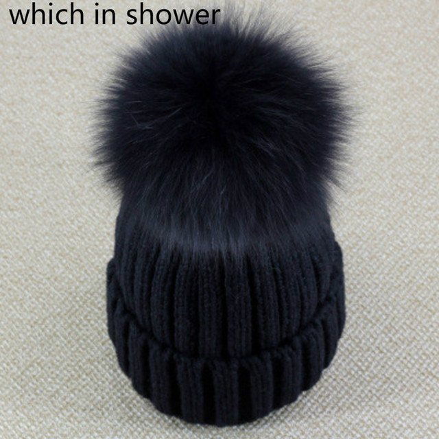 which in shower Genuine Real Fox Fur Pom Poms Ball Winter Beanies Hat Keep Warm  Women 7056adc3213e