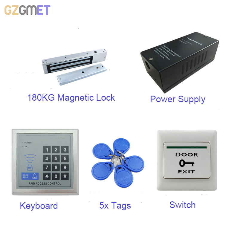 GZGMET Door Access Control System Kit Set Electric Magnetic Lock 12V Power Supply Proximity Door Entry Keypad with Keyfobs колье element47 by jv 202032 r