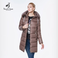SnowClassic 2018 New Winter Long Women's Coat Coat Thick Clam Rabbit Hair Hat Windproof European Design Fashion jacket women