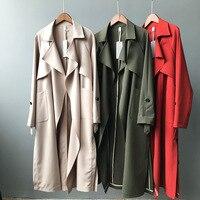 2019 Spring Women Long Coat Turn Down Collar Harajuku Women Army Green Trench Coat Casaco Feminino Abrigo Mujer Trench Femme