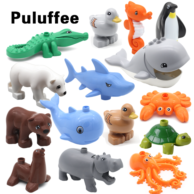 New Marine Life Series Building Blocks DIY accessory Bricks ocean Animals Dolphin Shark Penguin Whale Creative Educational Toys zxz 8 type amazing marine organism animals model toy classic plastic whale shark dolphin sea lions toys for boys collection gift