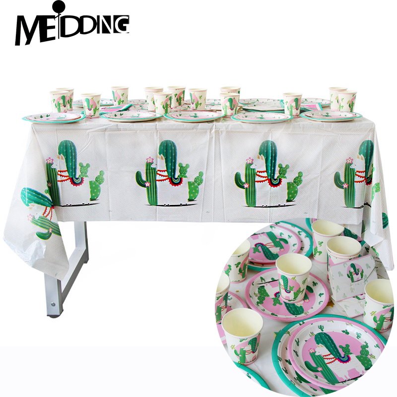 Cactus Llama Party Alpaca Paper Plates Cups Tablecloth Disposable Party Tableware Supplies Happy Birthday Party Decoration Kids in Disposable Party Tableware from Home Garden