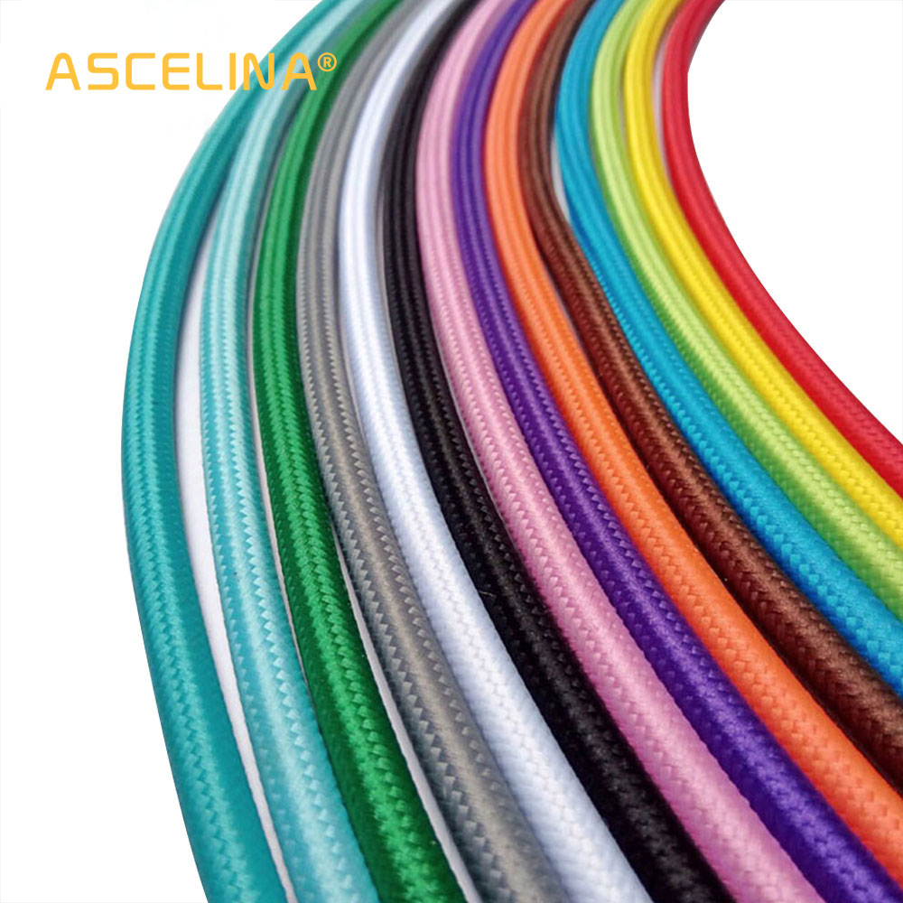 Wholesale Price 3m/lot 2×0.75 Color Twisted Wire Twisted Cable Retro Braided Electrical Wire Fabric Wire Eletrical Wire cable