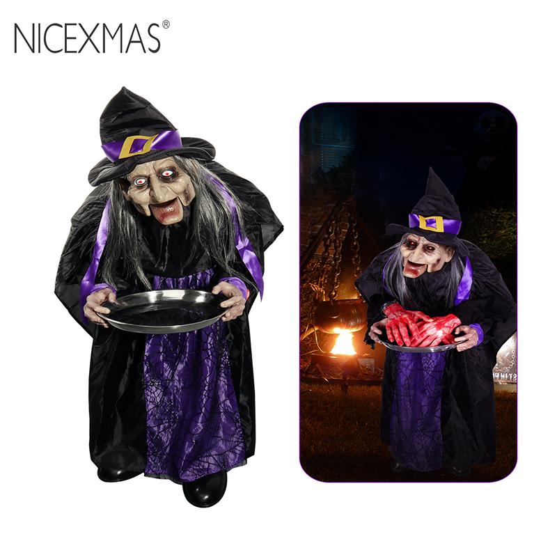 NICEXMAS Animated Hanging Standing Speaking Witch LED Eyes