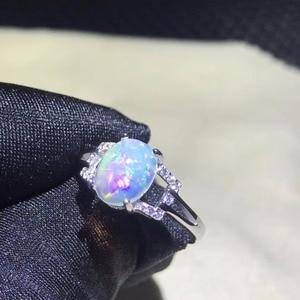 Image 4 - 천연 오팔 여성 반지 변경 화재 색상 신비한 925 실버 조정 가능한 크기