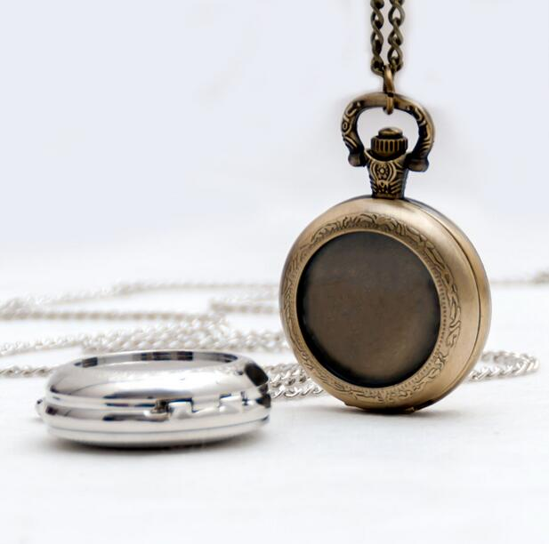 DIY Fashion Quartz Bronze, Silver Modern Clock Mens And Woman Necklace Pocket Watches
