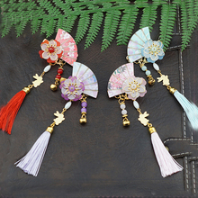 1 pc Vintage Fan Cherry Blossom Tassel Hair Clips Hairpin Hanfu Chinese Traditional Headdress Handmade clip