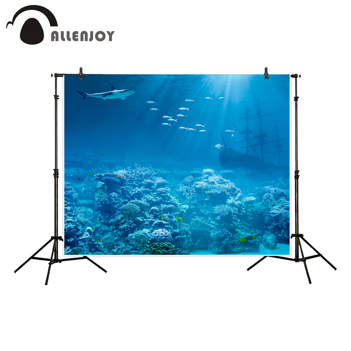 Allenjoy backdrop for photographic studio sea ocean underwater shark sunk treasures ship background professional photocall