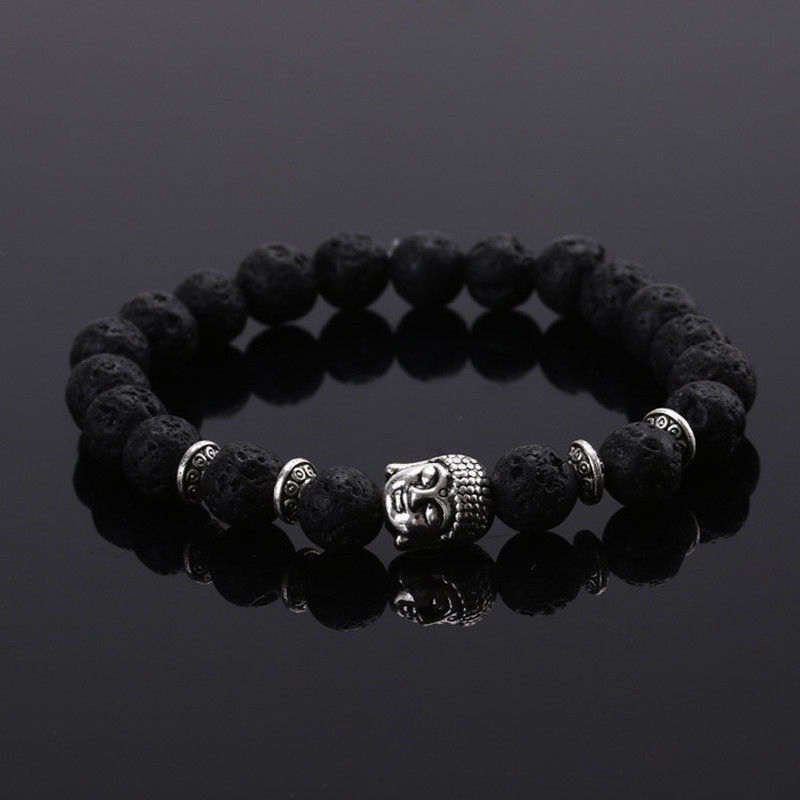 2017 European and American Fashion Lava Shi Tianjin Stone Buddha Stone Head Men and Women Bracelet Five Colors Optional