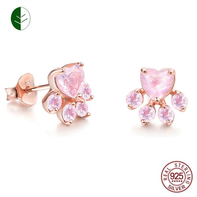New Shiny Sterling Silver Pink Cat Paw Stud Earrings CZ Bear Jewelry Dog Paw Earring Female Piercing Small Animal Earrings ZK30 earrings