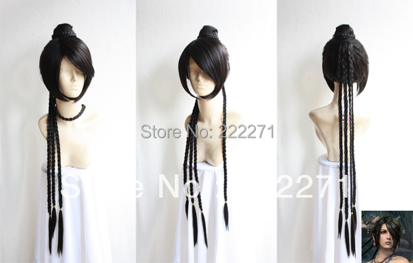 FREE SHIPPING Anime Final Fantasy X Ruru cosplay Long Black  Costume full wig  + Cap final fantasy x x 2 hd remaster